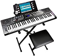 RockJam 61 Key Keyboard Piano With Pitch Bend Kit, Keyboard Stand, Piano Bench, Headphones, Simply Piano App &