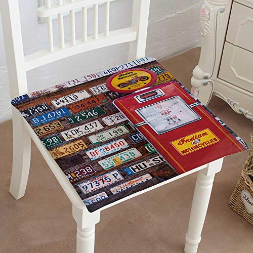 (Mikihome Squared Seat Cushion Utah USA November American License Plates Behind Antique Gas Pump on November Garden Patio Home Kitchen Office Sofa Seat Pad 22