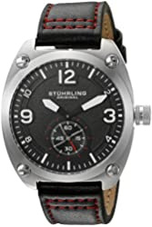 Stuhrling Original Men's 'Aviator' Quartz Stainless Steel and Leather Casual Watch, Color:Black (Model: 581.02)