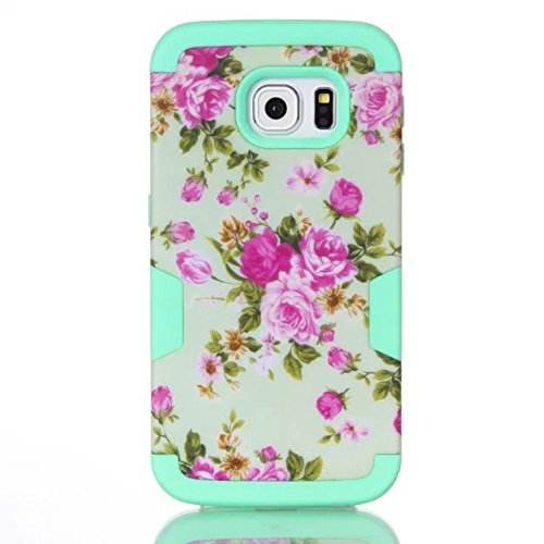 Galaxy S7 Edge Case,Lantier High Impact Shockproof Silicone and Hard PC Heavy Duty Powerful Protection Case Hybrid Rugged Cover for Samsung Galaxy S7 Edge White Orchid Flowers Mint Green