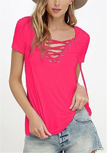 SHUNLIU Camisetas Mujer Tallas Grandes Mujer Camiseta de Manga Corta Blusa Ocasional V-Cuello T-shirt Color Sólido Blusas Rojo