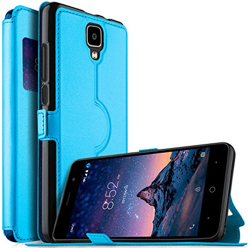 DOOGEE X10 case, KuGi Ultra-Thin SCW Style PU Cover + TPU Back Stand Case for DOOGEE X10 Smartphone(Blue)
