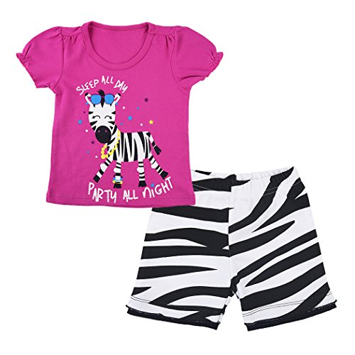 Little Hand Girls Pajamas Summer Short Sleeve Sleepwear Kids Cute Zebra Costume Party Pjs Toddler Pant Sets 2T -