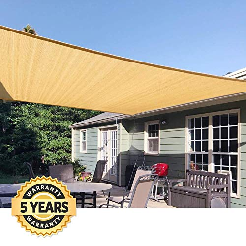 Quictent 185G HDPE Square Sun Shade Sail Canopy 98% UV Block Top Outdoor Cover Patio Garden (20x20ft, Sand)