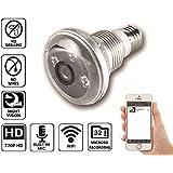 NuCam 720p HD Light Bulb Camera IR Night Vision Motion Detection IP WiFi Surveillance Indoor Hidden Camera E26/E27 Socket MicroSD Card Video Recording Phone/Tablet App