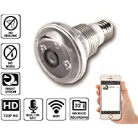 (2017 Version)Nucam 720p HD Light Bulb Camera IR Night Vision Motion Detection IP Wifi Surveillance Camera MicroSD Card Cellphone Video Recording App/PC view