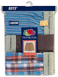 Fruit of the Loom Big Boys\' Exposed Waistband Woven Boxer ,Multi,L (14-16)