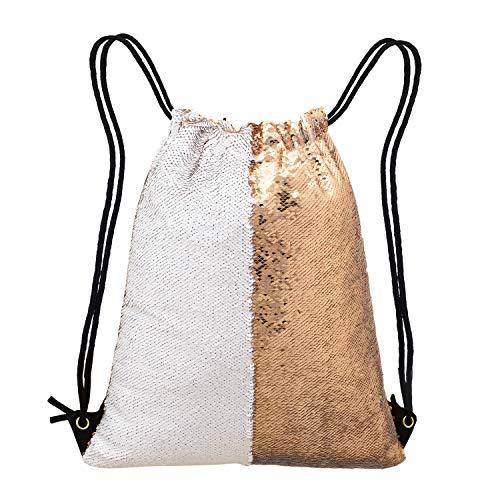 Unicorn Gift Mermaid Sequin Bag,Reversible Sequin Drawstring Backpack Glitter Sports Dance Bag Shiny Outdoor Beach Travel Backpack
