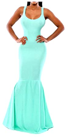 60a935961f76 Oval Neck Sleeveless Mermaid Elegant Women's Gown (Large, Light Blue ...