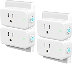 Smart Plug 4 Pack, Woostar Wifi Plug Outlet Compatible with Amazon Alexa, Google Home, IFTTT, 15A Wifi Socket Remote Controls Your Devices from Anywhere by Phone, No Hub Required