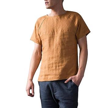 4efd5756d0 Image Unavailable. Image not available for. Color: Men's Vintage Baggy  Cotton Linen Solid Short Sleeve Retro T Shirts Tops Blouse