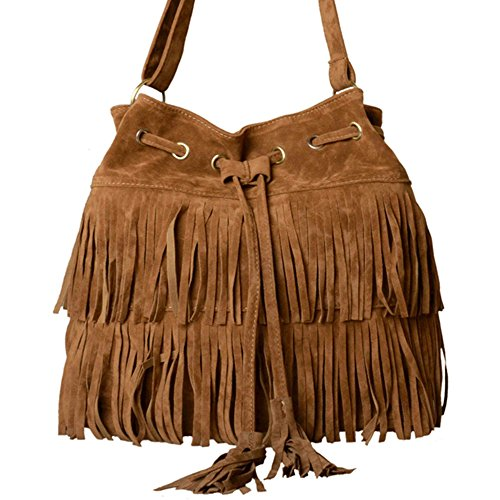 Zeagoo Womens Faux Suede Fringe Tassels Cross-body Shoulder Bag Brown