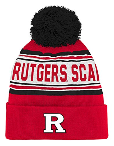 NCAA Rutgers Scarlet Knights Kids & Youth Boys Jacquard Cuffed Knit Hat w/Pom, Red, Kids One (Scarlet Knit Hat)