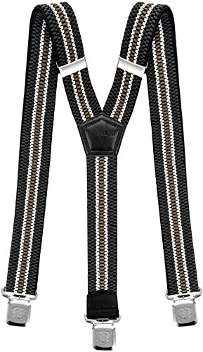 Mens Suspenders Wide Adjustable and Elastic Braces Y Shape with Very Strong Clips - Heavy Duty (Green Beige)