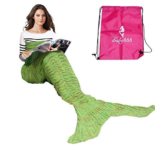 Adult and Child Mermaid Fish Scales Tassel Blanket (Dark Green) - 5