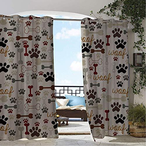 - Linhomedecor Outdoor Waterproof Curtain Cartoon Dog Footpr ts Bones doorways Grommet Bathroom Curtain 72 by 72 inch