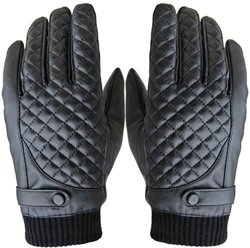 1 Pc (1 Pair) Distinguished Popular Men Thermal Warm Leather Glove Winter Season Decor Wrist Driving Motorbike Outdoor Sports Color Black Model-01