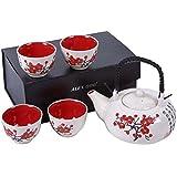 Service à thé Asiatique, motifs Japonais, Fleurs noires et rouge Dimensions : 26.5cm x 9cm x 17.5cm