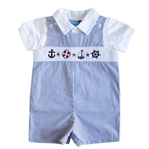 Good Lad Newborn/Infant Boy Blue Seersucker Smocked Shortall Set with Nautical Embroideries ()