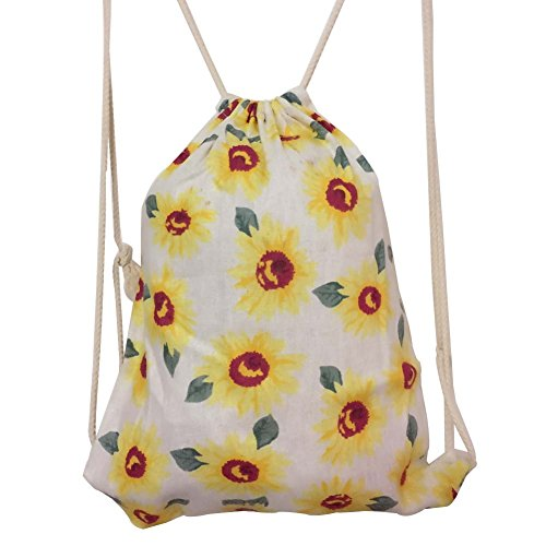 DANUC Gym Sack Bag Drawstring Backpack Sport Bag for Men & Women School Travel Backpack for Teens College Girls Sackpack (sunflower)