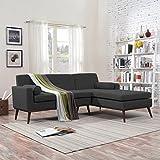 Sophia Mid Century Modern 2 Piece Muted Dark Grey Fabric Sectional Sofa and Lounge Set