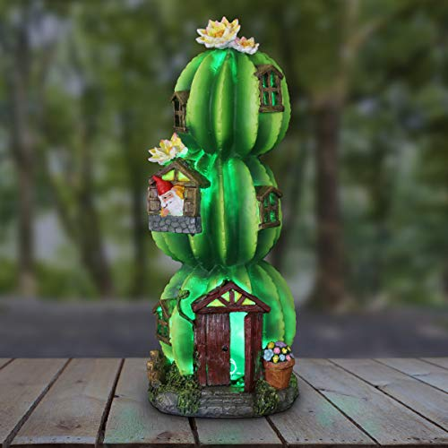 Exhart Three Stacked Resin Cactus House w/Gnome, Door & Windows Garden Statue - Layered Cactus Fairy House Statue w/Solar LED Lights Topped with White Flowers - Solar Fairy House Decor, 18 Inches