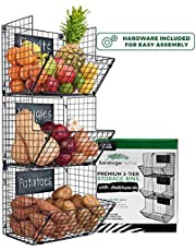 Sturdy & Stylish 3-Tier Storage Baskets for Wall, Counter or Floor by Saratoga Home - Organize Fruit or Produce, Personalize with Removable Chalkboards, Add Farmhouse Charm to your Home, Easy Assembly
