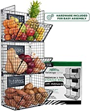 Sturdy & Stylish 3-Tier Storage Baskets for Wall, Counter or Floor by Saratoga Home - Organize Fruit or Pr