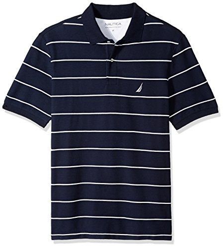 Nautica Men's Big and Tall Classic Short Sleeve Striped Polo Shirt, Navy, 2X Classic Striped Cotton Polo Shirt
