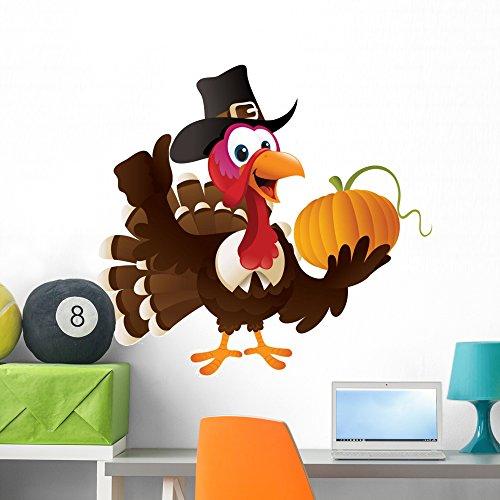 Pilgrim Turkey Holding Pumpkin Wall Decal By Wallmonkeys Peel And Stick Graphic  36 In W X 35 In H  Wm246240