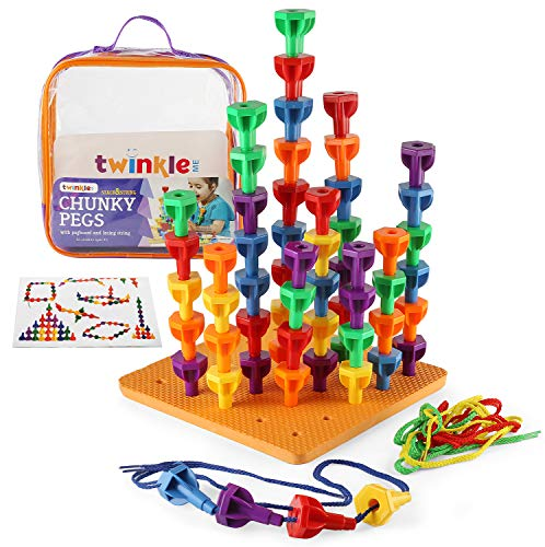 Twinkle me Pegs Board Game Set - 60 Chunky Pegs W/ Board & Storage Bag W/ Handle Easy to Carry. for Motor Skills Sorting Counting Color Recognition Occupational Therapy Toddler and Preschool