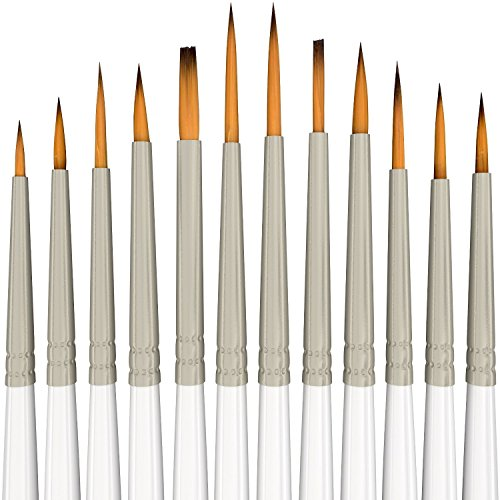 Detail Paint Brush Set - 12 Miniature Brushes for Fine Detailing & Art Painting - Acrylic, Watercolor, Gouache, Oil - Models, Airplane Kits, Ink, Warhammer 40k - Artist Quality Supplies by MyArtscape -