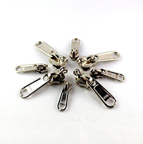 M'VIR Zipper Repair Replacement Kit Pack of 20 Assorted Size Metal Zip Sliders Fly Clasp LockerStainless Steel