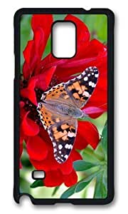 Adorable Butterfly Red Flower Hard Case Protective Shell Cell Phone For Case Samsung Note 4 Cover