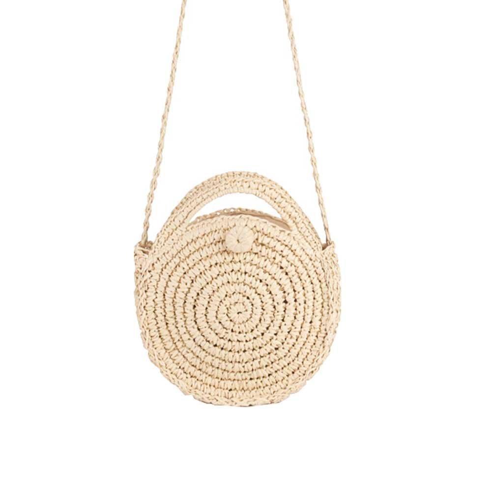 Zongsi Mini Handmade Round Straw Beach Bag Shoulder bag for women (Beige)