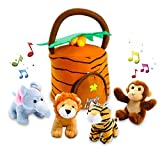 Hoovy Plush Jungle Animals Toy Set (5 Pcs) with Carrier for Kids|Stuffed Monkey, Lion, Tiger & Elephant|Great for Boys & Girls