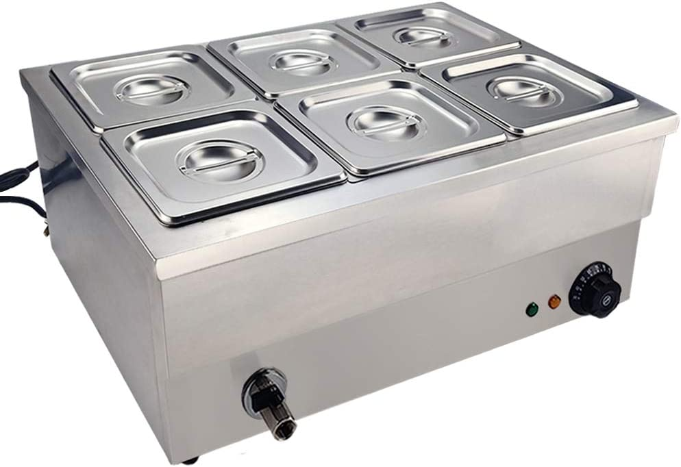 DULONG Commercial Electric Bain Marie Buffet Food Warmer Food Warmer Stove Steam Table Stainless Steel Container Temperature Control for Catering and Restaurants Commercial Grade 1350W(1/6 GN 6 Pan)