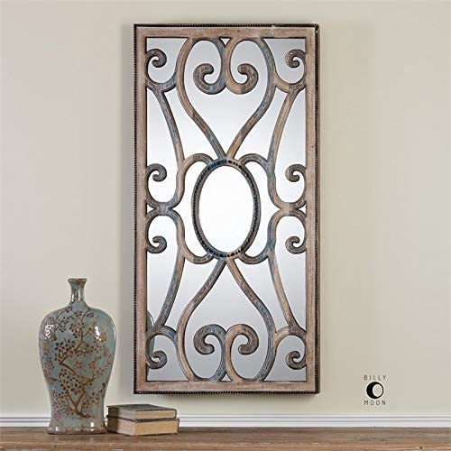 Uttermost Rosalind Carved Decorative Mirror in Taupe and Blue