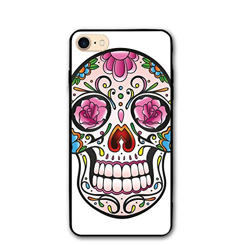 Haixia iPhone 7/8 Case 4.7 Inch Sugar Skull Decor Spooky Sugar Skull with Pink Roses Twigs Blooms Teeth Smile Halloween Decorative ()