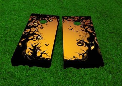 [Scary Forest Halloween Cornhole Set, 2x4, Wood, Handmade, ACA Regulation, Portable, Includes 8 Bags] (Halloween Bean Bag Toss)