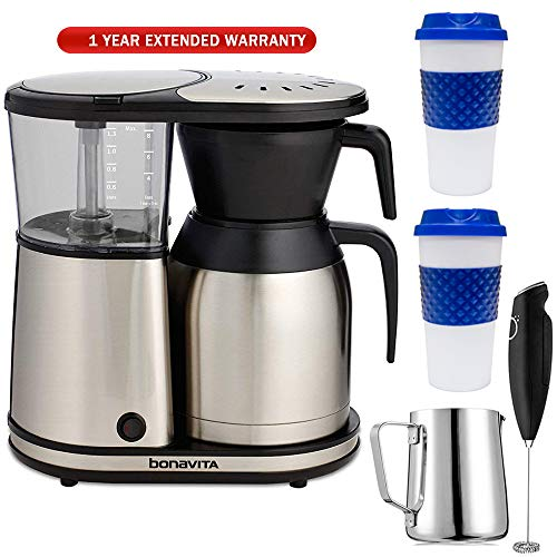 - Bonavita 8-Cup One Touch Thermal Carafe Coffee Brewer (BV1900TS) with Extended Warranty, 2X Reusable to Go Mug Blue, Stainless Steel Milk Frothing Pitcher & Milk Frother Handheld Electric Foam Maker