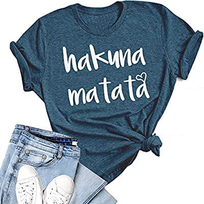 Asher's Apparel Hakuna Matata T-Shirt for Women Funny Adult Short Sleeve Letter Print Casual T Shirt