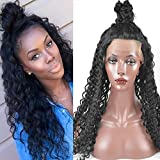 Sunwell Loose Curly Brazilian Virgin Human Hair Lace Front Wig with Baby Hair 130% Density Natural Color Medium Brown Lace 16 inch