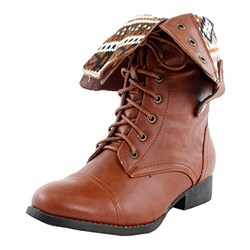 Women's Lace up Ankle Fold Over 2-Way Round Toe Mid Calf Military Combat Boots Stylish Fashion Shoes sharpery-1 cognac, 8