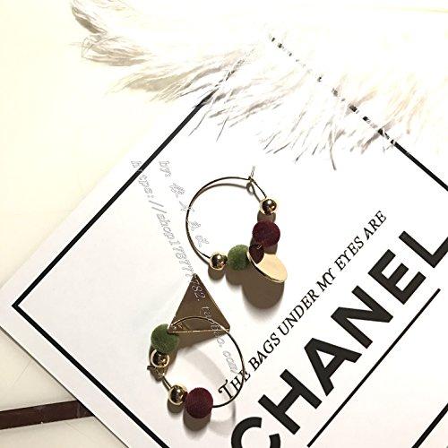 usongs According in autumn and winter ear ear ring alloy simple geometric earrings velvet colored balls