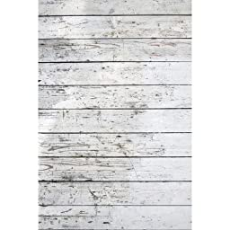 Photography Weathered Faux Wood Floor Drop Background Mat CF4131 Rubber Backing, 4\'x5\' High Quality Printing, Roll up for Easy Storage Photo Prop Carpet Mat (Can Be Used for Decorating Home Also)