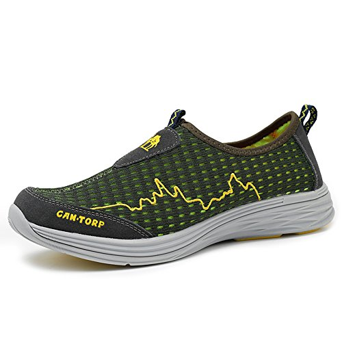 Gomnear Breathable Shoes Mesh Cloth Loafers Leisure Flat Slip On Quick Drying Lightweight Fashion Outdoor Casual Sports Running Green