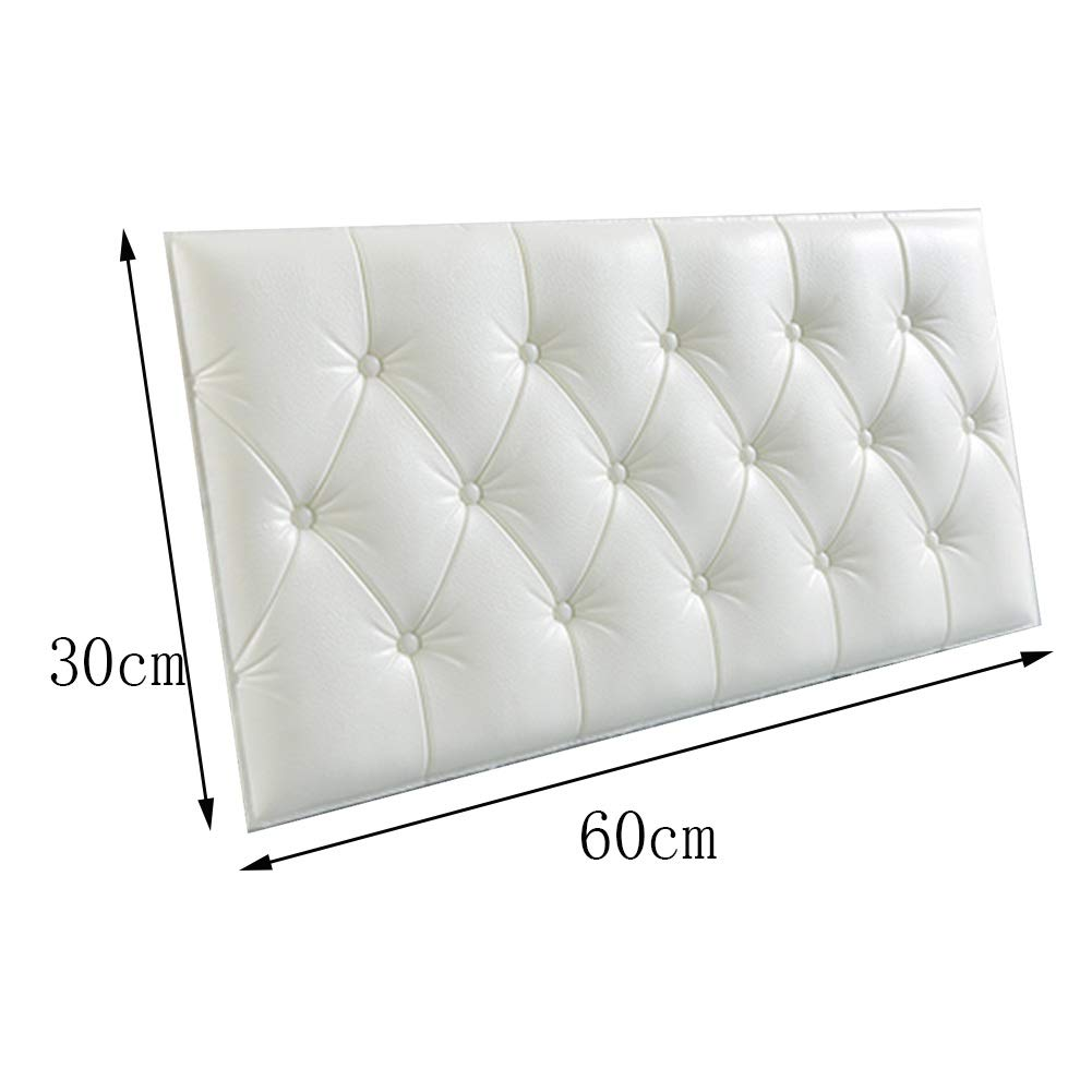 Color : White, Size : 1-pc Triangular Reading Pillow Bedside Cushion Upholstered 3D Wall Panels Anti-Collision Self-Sticking Bedside Wallpaper Waterproof Soft Case