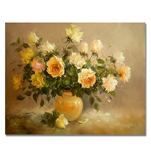Rihe DIY Oil Painting Paint By Numbers Kits Mounted on Wood Frame with Brushes Painting Kits on Canvas for Adults Kids Flower Theme- Yellow Flower 16x20 Inch(With Wood Frame)