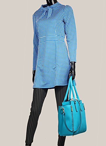 Tote Women's Shoulder 314 Handbags Zipper LeahWard 314A Great Bags Teal Nice 502 XqxfwUUnS